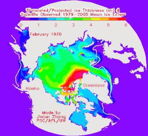 map of arctic seas. The maximum of Arctic sea-ice