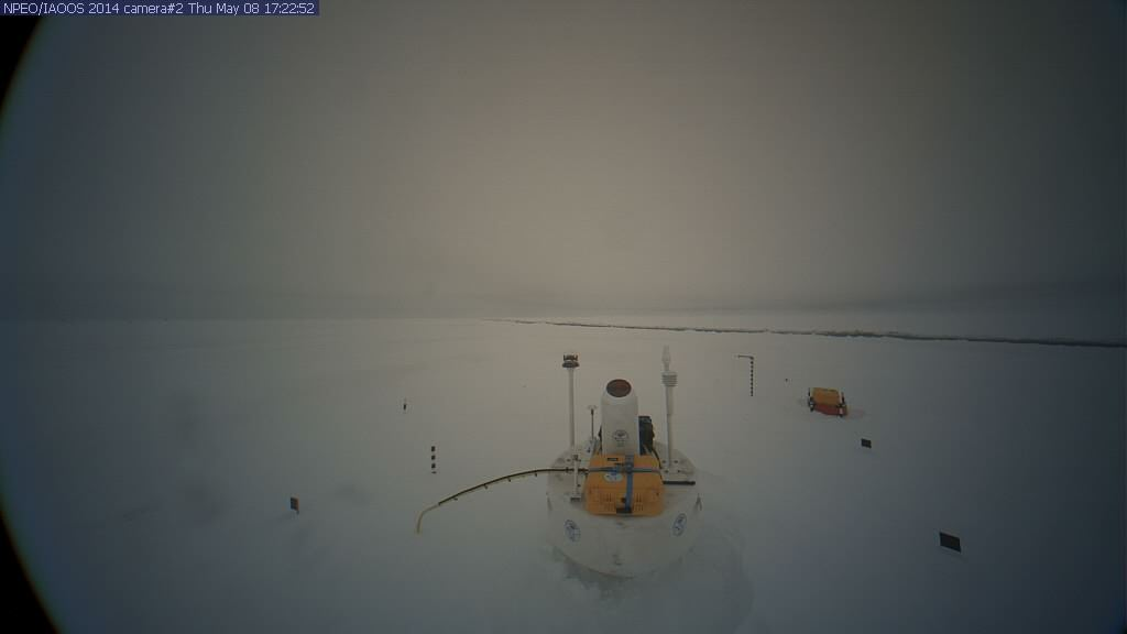 NPEO webcam 2 image from April 21st 2014, showing a lead in the background
